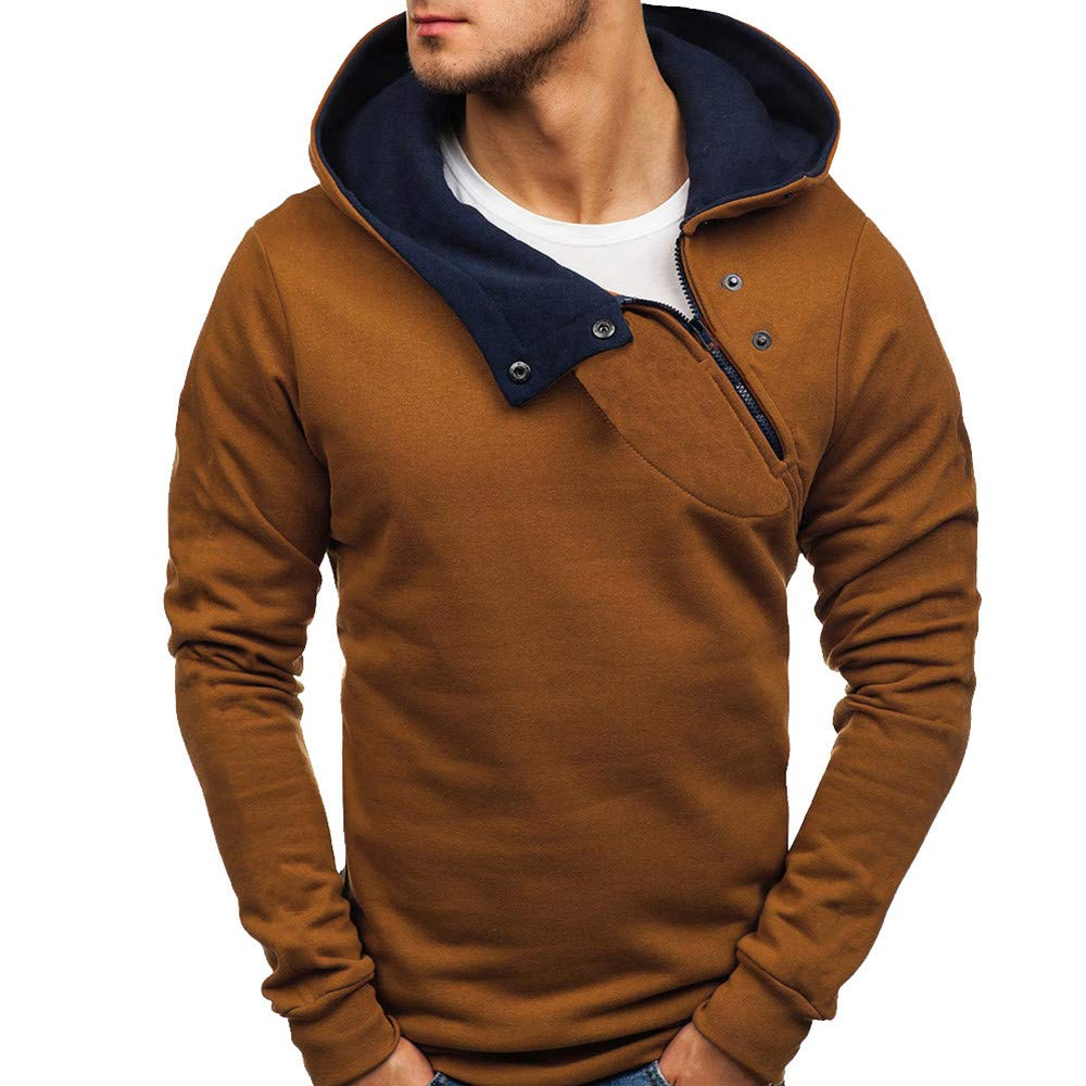 WOCACHI Mens Hoodies, Zipper Color Block Neck Pullover Button Hooded Sweatshirt