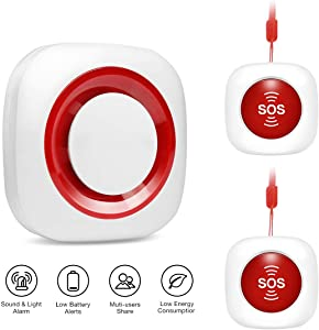 Wireless Caregiver Pager Personal Alarm Panic Button Emergency Call System for Home Elderly Patient Nurses Seniors Disabilities with 2 SOS Call Button & 1 Receiver, 52 Chimes 5 Volume