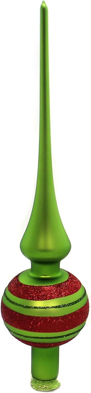 Inge Glas Happy Stripes Apple Green Matte Finial German Tree Topper 11.9 Inch