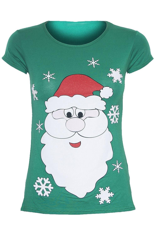 Damen Weihnachten, Weihnachtsmann, Schneemann, Rentier, glitzernd, Motiv: Tee T Shirt