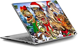 Dino Selfie Xmas - Custom Fits Dell XPS 13 Laptop Notebook Skin Vinyl Sticker Cover Decal