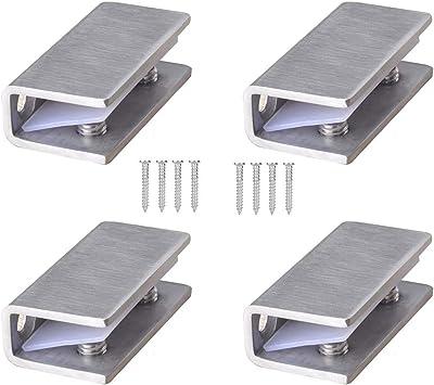 Abrazaderas de Vidrio 4 Piezas 8-12mm Acero Inoxidable Abrazaderas de Cristal 304 Soporte de Vidrio Ajustable Parte Trasera Plana para Escalera Barandilla Baño: Amazon.es: Bricolaje y herramientas