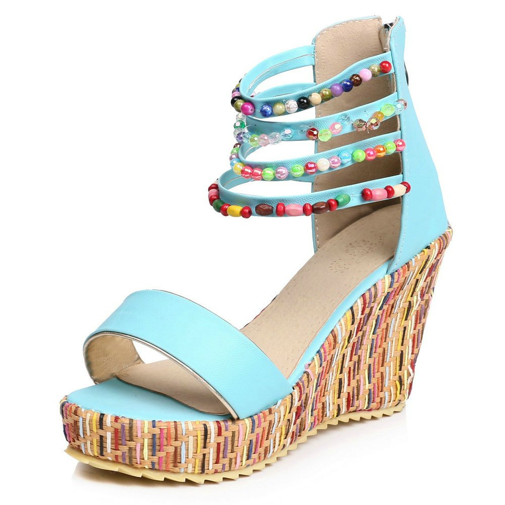 Women Wedge Sandals Fashion Platform Open Toe Summer Bohemia Strap Beaded Beads Espadrille Shoes B07CSH5CKX 5.5 B(M) US|Blue