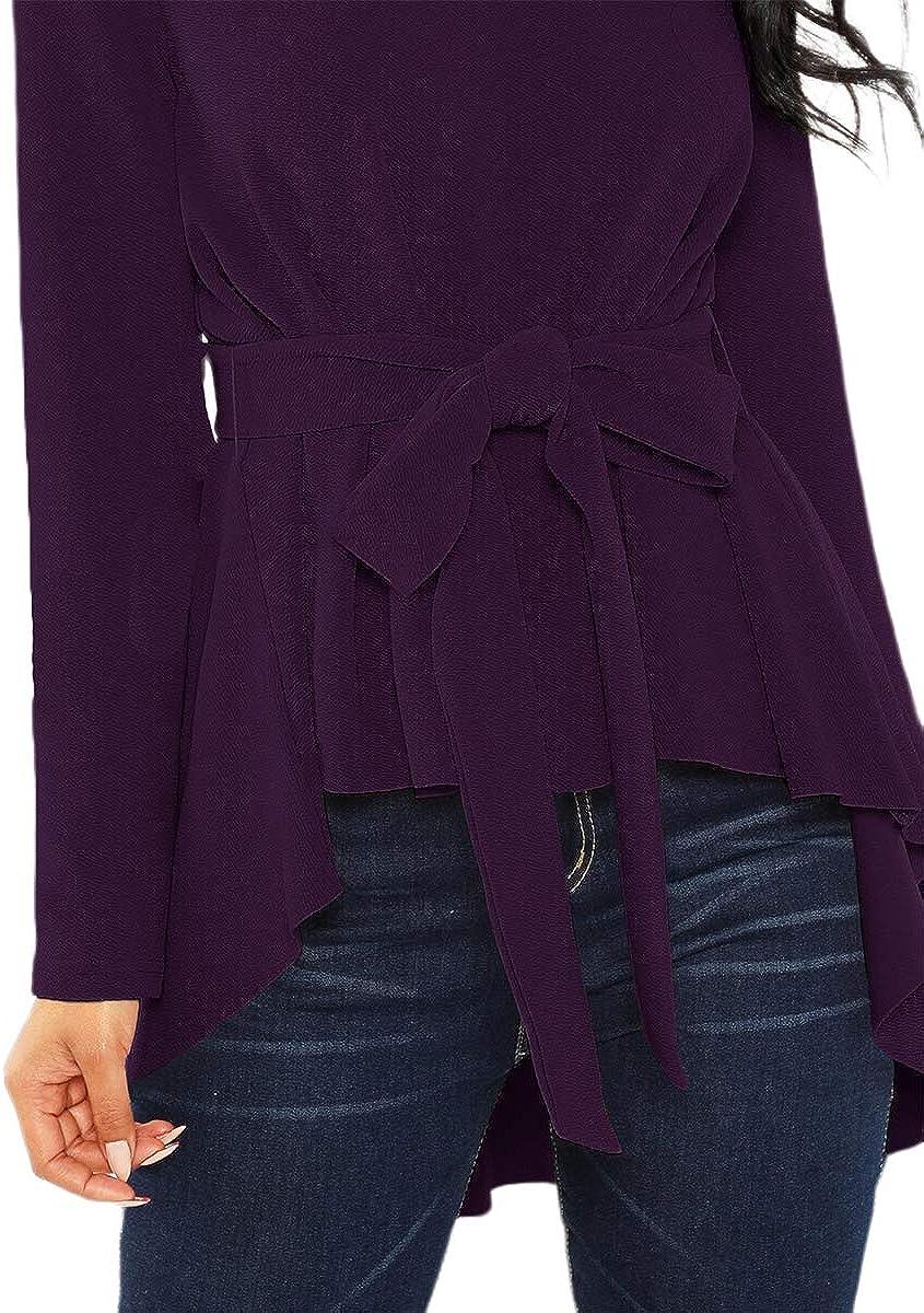 ROMWE Womens Raw Hem Long Sleeve Belted Flare Peplum Blouse Shirts Top