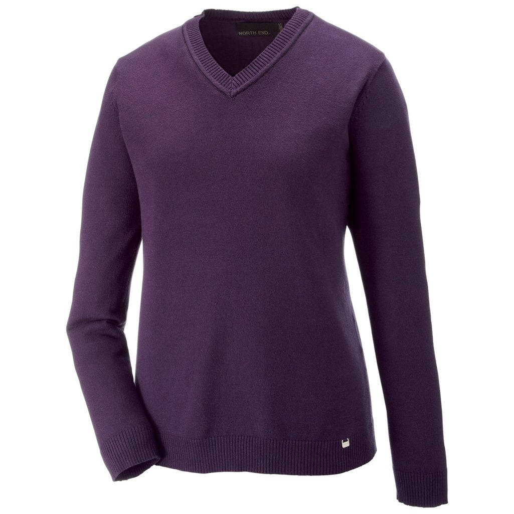 Ash City Ladies Merton V-Neck Sweater (Large, Mulberry Purple/Black) by Ash City Apparel