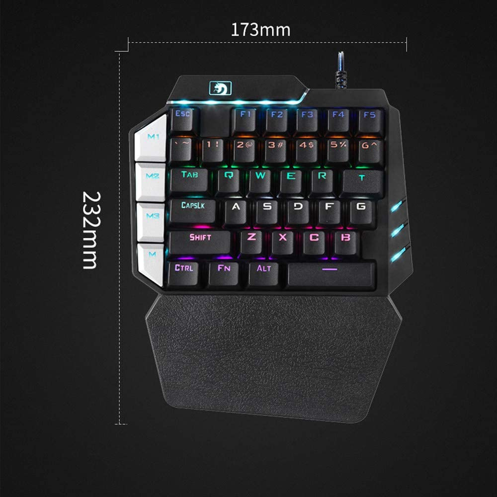 for LOL//PUBG//Wow//Dota//OW//Fps Game Wireless Mouse Basde 35 Keys Single One Hand Mechanical Gaming Keyboard 9 LED Backlit USB Wired Mechanical Gaming Keyboard