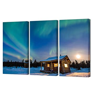 425655f2276 Vvovv wall decor piece northern lights and cabin canvas art aurora borealis  iceland landscape jpg 355x355