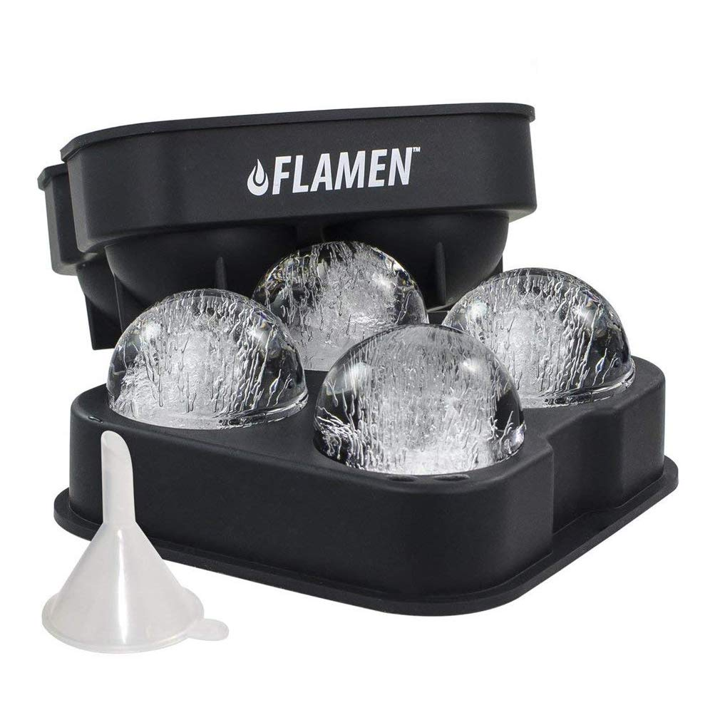 Flamen Easy-Release Flexible Ice Ball Maker Cube Maker Tray Molds with Funnel - Black Silicone Round Ice Ball Tray Spheres HK1401