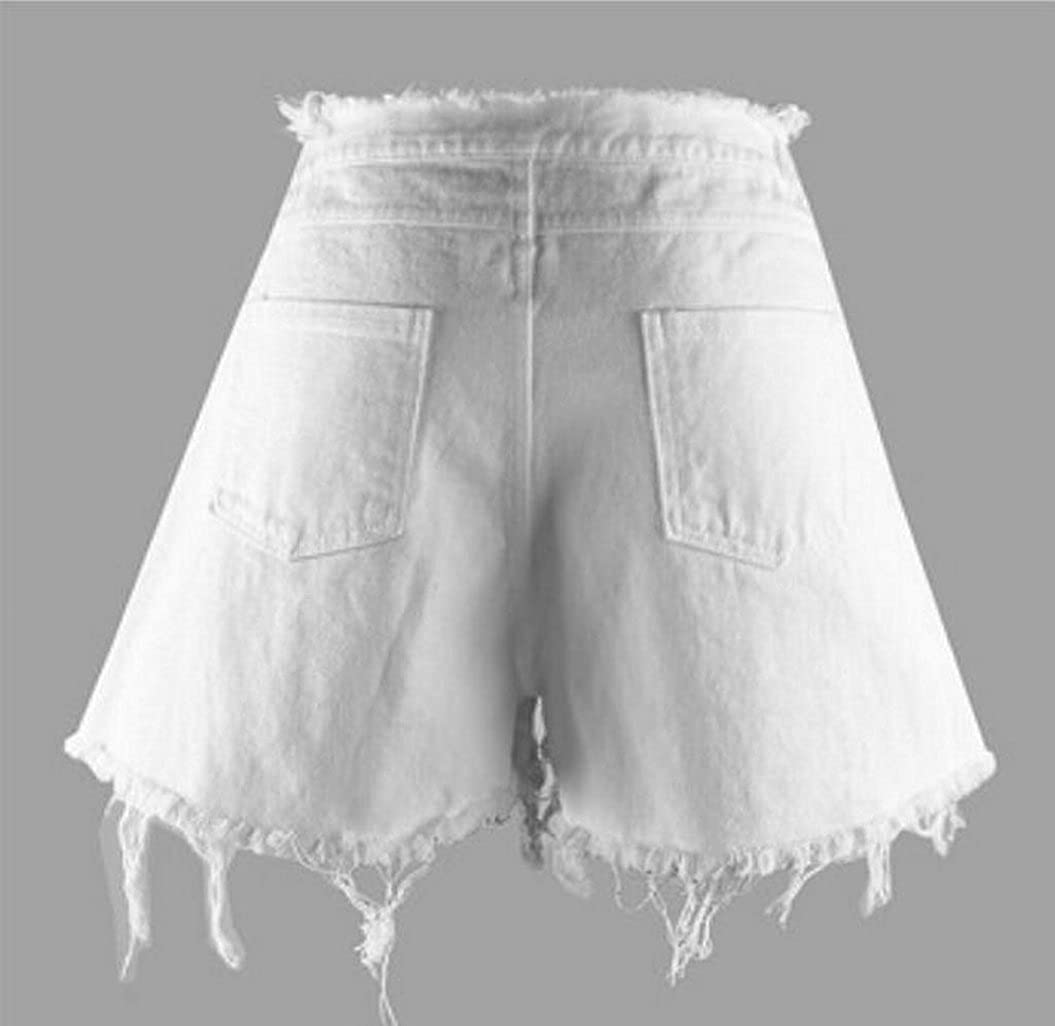 ARTFFEL-Women Casual High Rise Washed Wide Leg Cut Off Denim Shorts Jeans