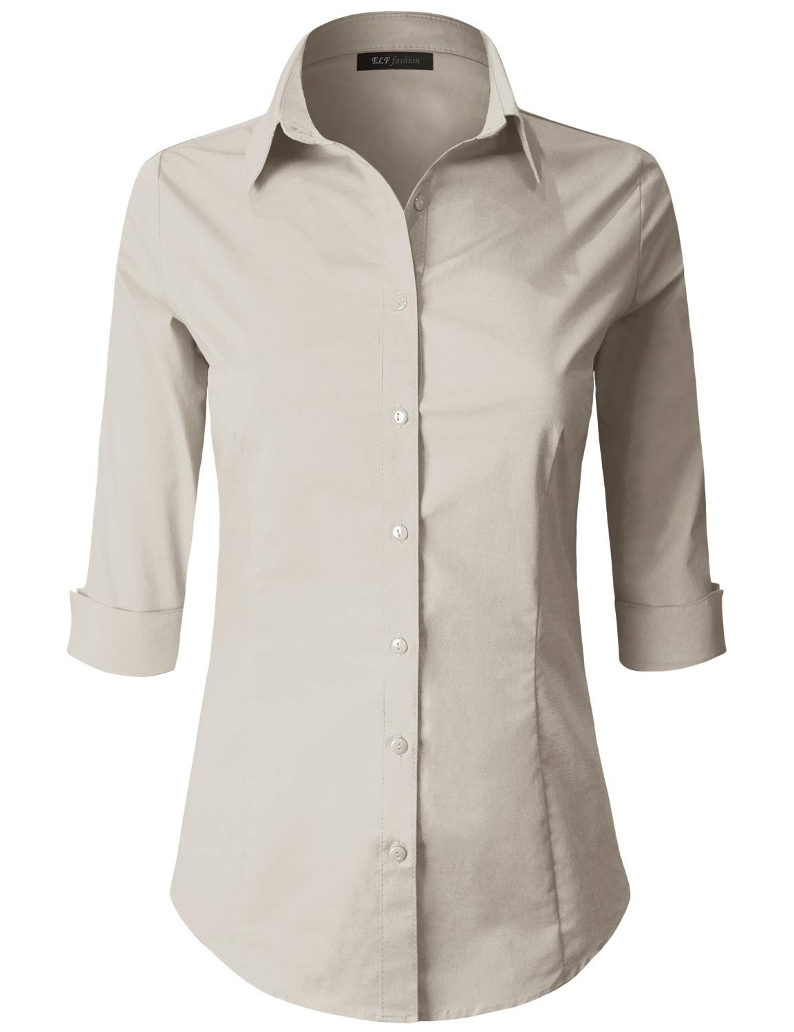 ELF FASHION 3/4 Sleeve Stretchy Button Down Collar Office Formal Casual Shirt Blouse for Women (Size S~6XL) Khaki M by ELF FASHION