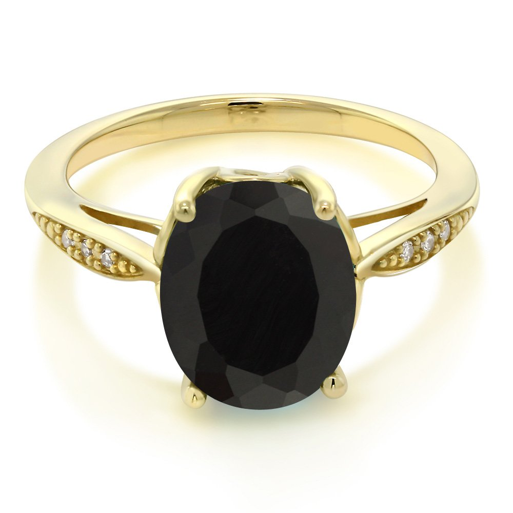 Gem Stone King 14K Yellow Gold Black Onyx and Diamond Women s Ring 2.54 Ct Oval Available 5,6,7,8,9