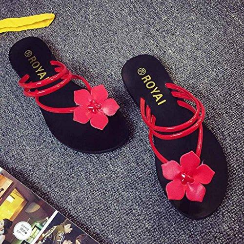 Calzado de mujer,Amlaiworld Mujeres Bohemia Zapatillas Lady Flower Weave Sandalias Rojo