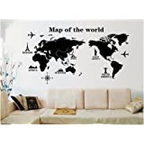 UberLyfe World Trip Map Wall Sticker Size 4 (Wall Covering Area: 80cm x 140cm) - WS-000131