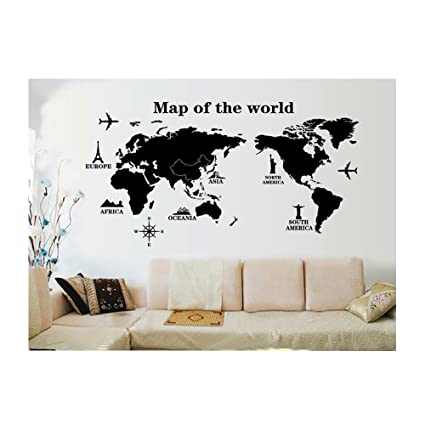 Buy uberlyfe world trip map wall sticker size 4 wall covering area uberlyfe world trip map wall sticker size 4 wall covering area 80cm x 140cm gumiabroncs Images