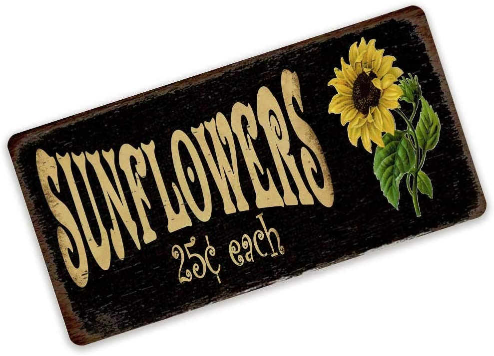 Sunflowers 25 Cents Metal Sign For DIY Door Wreaths Primitive Fall Floral Decorative Metal Wreath Sign Attachment Décor for Home Bar Cafe Dining Room Billiard House Hotel Club Wall 8×12 Inch