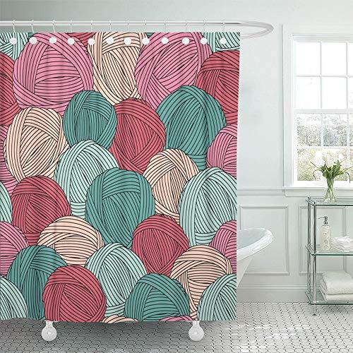 (Emvency Decorative Shower Curtain Teal Crochet Yarn Balls Pattern Blue Skein Hook Hank Cozy Lace Cashmere Craft 72