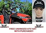 MADE IN THE USA! SuperATV Kymco UXV 450 Scratch Resistant Flip Windshield and Free Unhinged ATV Hat!
