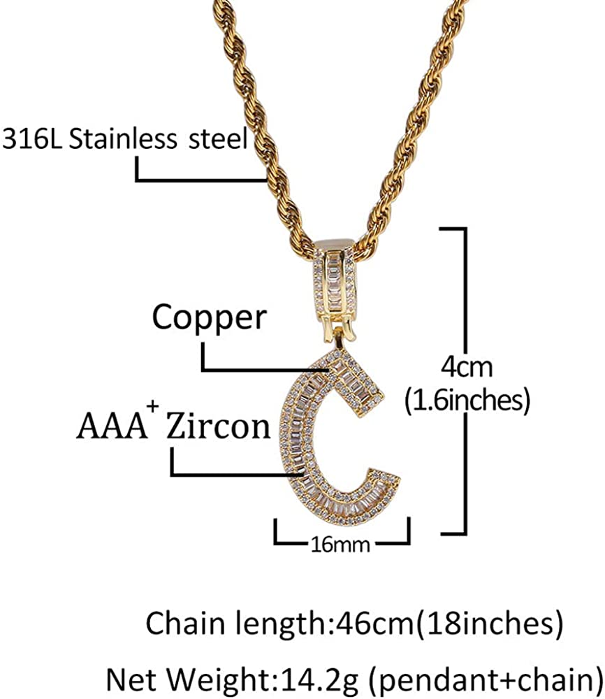Custom Hip Hop Letter Necklace with Simulated Square Diamond A-Z Initial Alphabet Necklace Pendant Charm