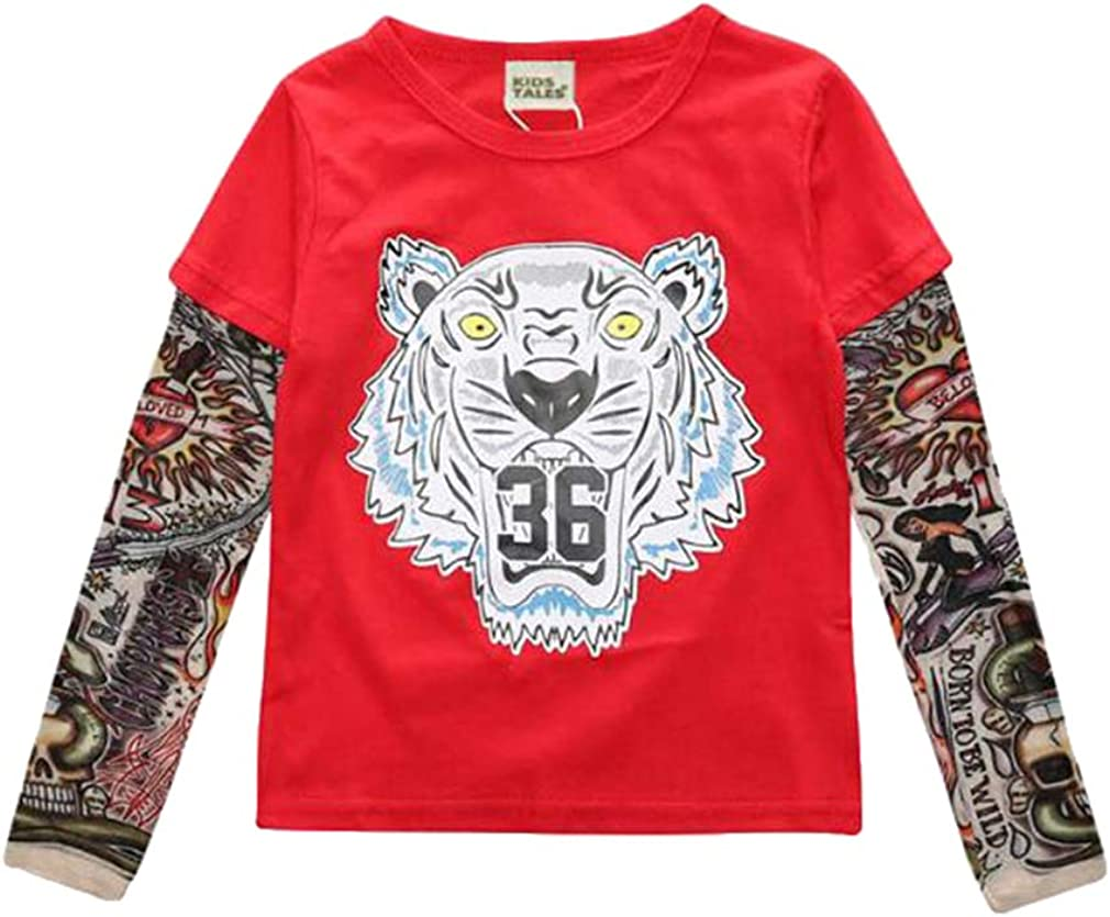 Yying Gar/çon Tattoo Tshirt New Cartoon Enfants T-Shirts Gar/çons Enfants T-Shirt V/êtements pour Gar/çons V/êtements pour B/éb/és Filles T-Shirts