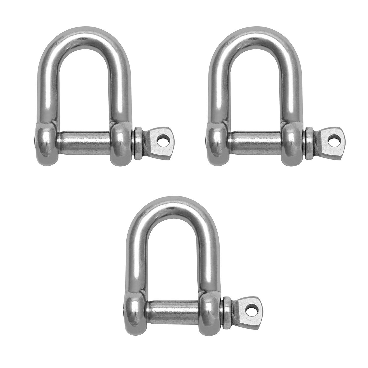 QWORK 3PCS 3//8 M10 Ring Shackle Lock 304 Stainless Steel Bow Shackle for Heavy Duty Construction Hauling Vehicle Recovery