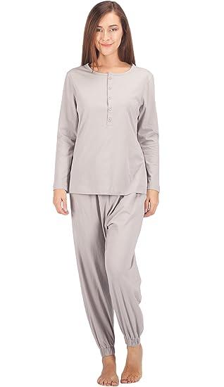 ee4e62734d02 WEWINK CUKOO Womens Cotton Pajama Sets Long Sleeve Sleepwear Cozy Pj Set  Grey