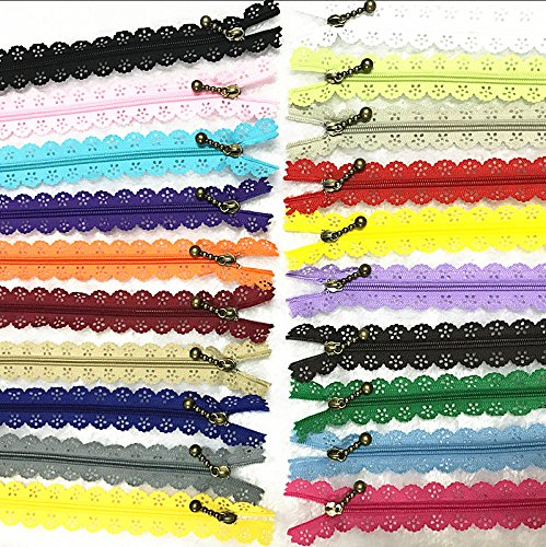 WKXFJJWZC 40Pcs Novelty 8 inch Lace Closed End Zippers 3# Nylon for Purse Bags for DIY Sewing Tailor Craft Bed Bag 20/Color
