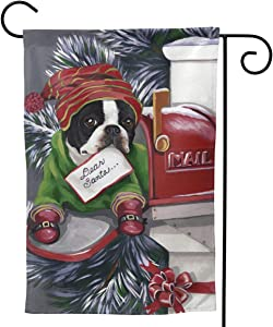 Only Pineapple Boston Terrier Dog Box Gift for Christmas Seasonal Family Welcome Double Sided Garden Flag Outdoor Funny Decorative Flags for Garden Yard Lawn Decor Party Gift Many Sizes