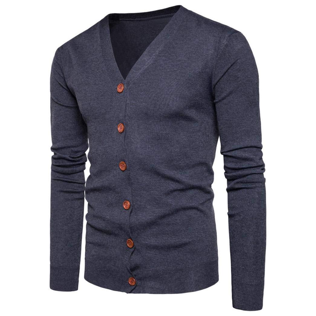 Muranba Clearance Men V Neck Button Knit Sweater Cardigan Coat by Muranba Mens Pants (Image #2)