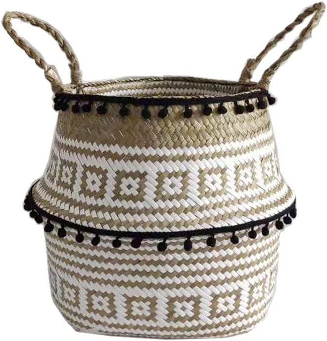 Pillows Sofa Throws Cotton Rope Basket Towels Decorative Woven Storage Blanket Basket Bin with Handles for for Baby Toys Blanket Comforter Cushions Nursery Bin Laundry Hamper