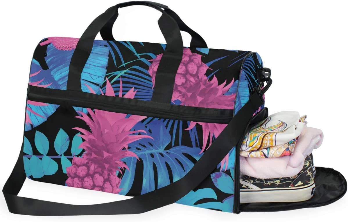 WIHVE Sports Gym Bag with Shoes Compartment Tropical Pineapple Palm Leaves Travel Duffel Bag