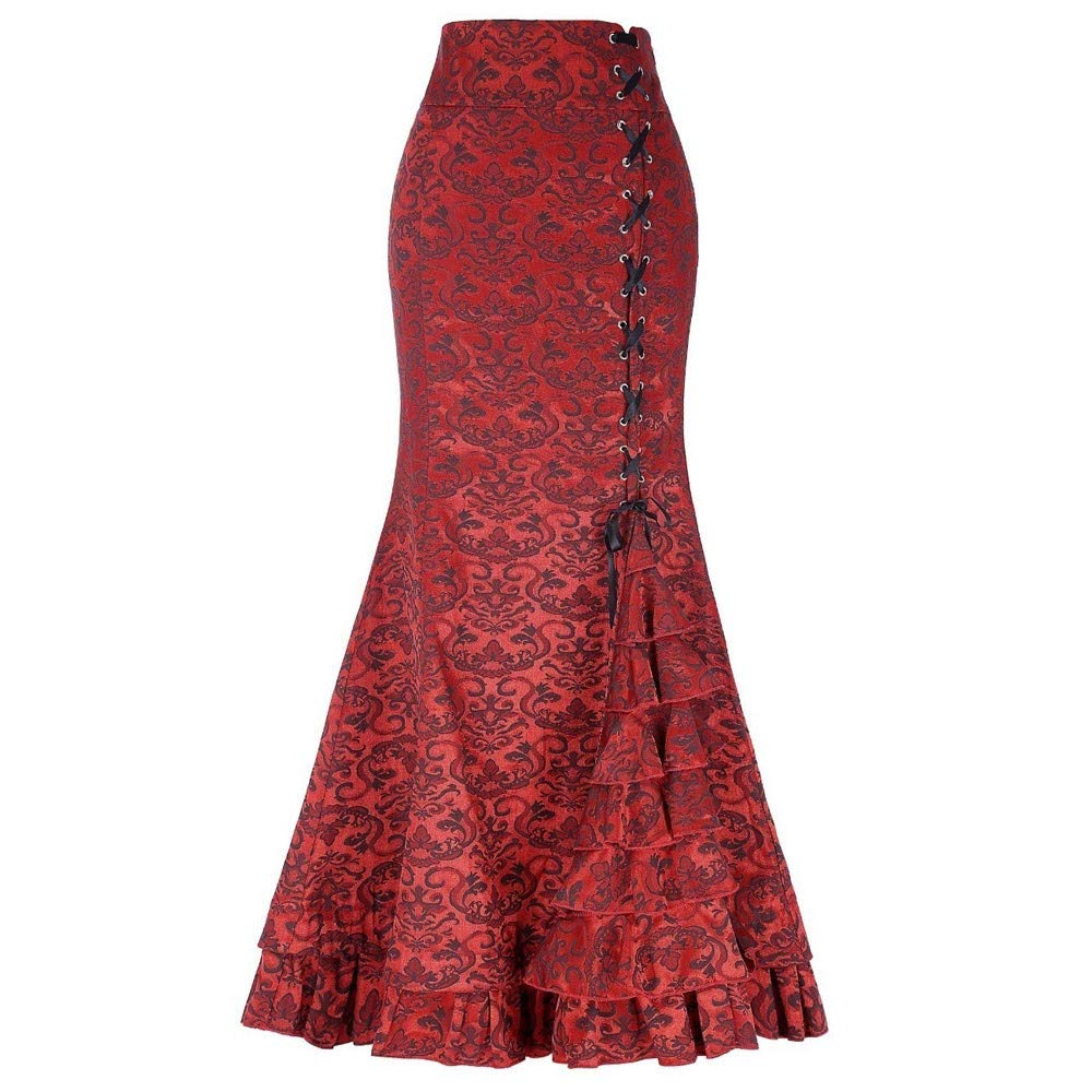 Hunzed Women【Ruffled Skirt】Clearance Women's Victorian Punk Vintage Mermaid Fishtail Skirt