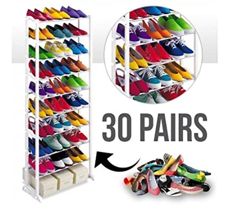 VDNSI Amazing Shoe Rack Portable with 10 Layer Holds Approx 30 Pairs Shoes