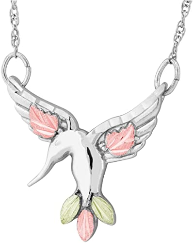 Rhodium-Plated Sterling Silver Diamond-Cut Hummingbird Necklace, 12k Rose and Green Gold Black Hills Gold 18 Inches