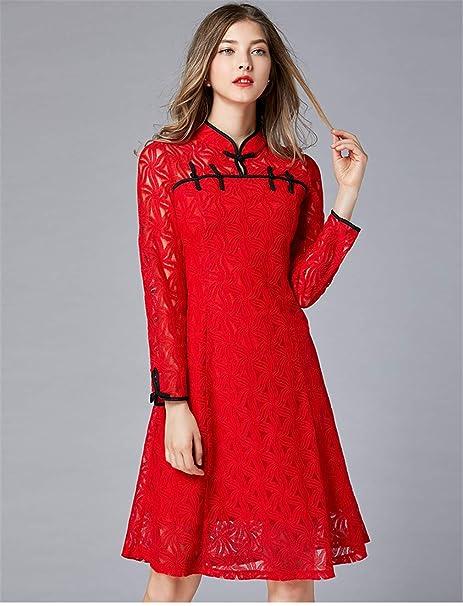 Vestido Cóctel Talla Extra Rojo Cordón Alinear Longitud De