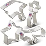 Graduation Cookie Cutter Set - 4 piece - Graduation Cap, Diploma, Star, Shooting Star - Ann Clark - Tin Plated Steel