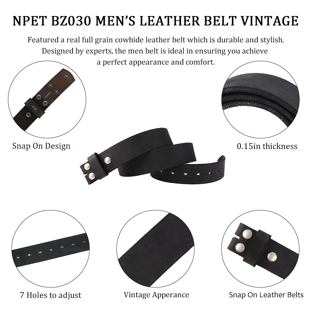 7a28e725299 NPET Mens Leather Belt Full Grain Vintage Distressed Style Snap on Strap 1  1 2