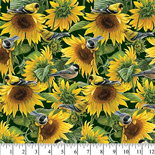 (Sunflowers and Birds Cotton Fabric by The Yard )
