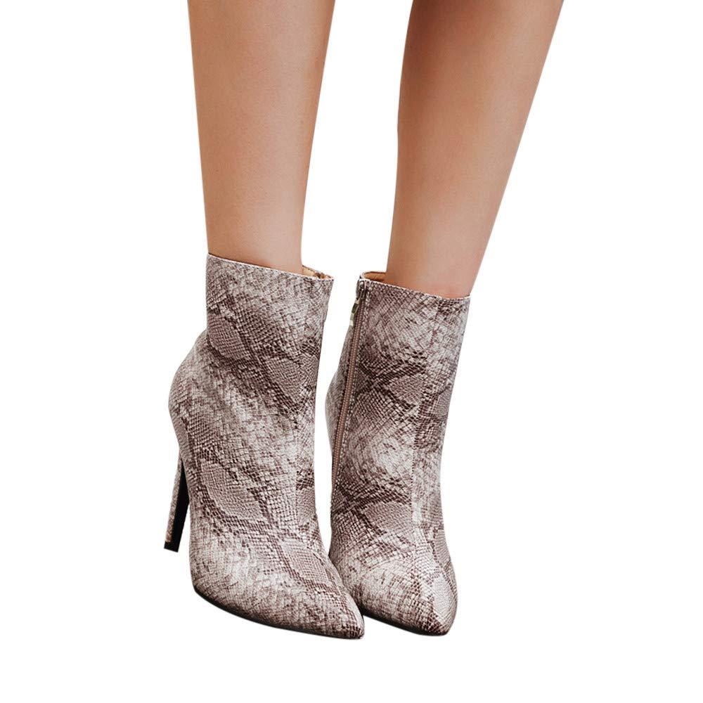 Gyoume Women Snake Skin High Heel Boots Shoes Martin Sexy Thin Heels Zipper Boots Shoes Martens