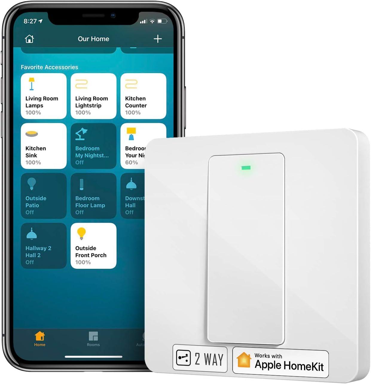 Interrupteur Va et Vient WiFi (FIL NEUTRE REQUIS), Interrupteur à 2 Voies Intelligent Compatible avec Apple HomeKit, Siri, Alexa, Google Home et SmartThings, Contrôle à Distance et Commande Vocale