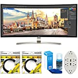 LG 38' 21:9 WQHD Curved IPS Monitor (38UC99-W) with 2x 6ft High Speed HDMI Cable Black, Universal Screen Cleaner for LED TVs & Transformer Tap USB w/ 6-Outlet Wall Adapter