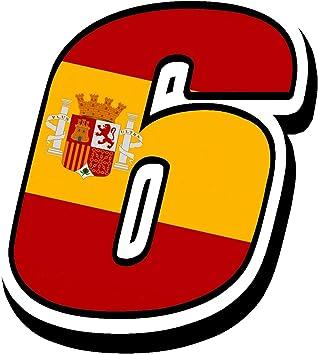 Biomar Labs® Número 6 Bandera Nacional España Spain Calavera Vinilo Adhesivo Pegatina Coche Auto Motocross Moto Sport Start Racing Tuning N 286: Amazon.es: Coche y moto