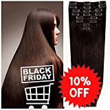 16-22 inch 100% Remy Human Hair Clip in hair Extension 8pcs Hairpiece 18clips #1 DARK BROWN 80g (2.8oz)
