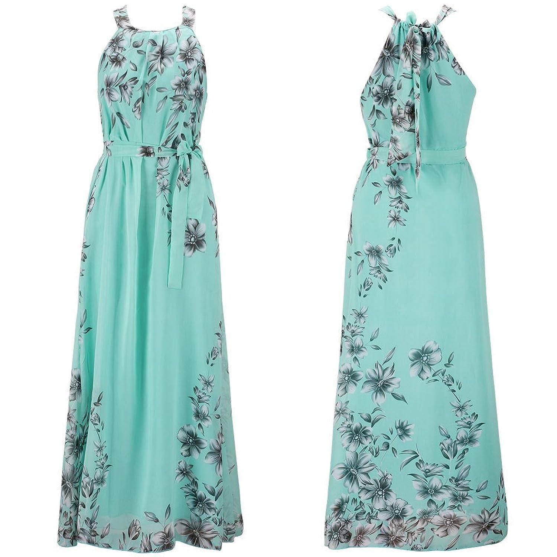 Ensnovo Womens Bohemia Floral Chiffon Long Dress Summer Beach Maxi ...