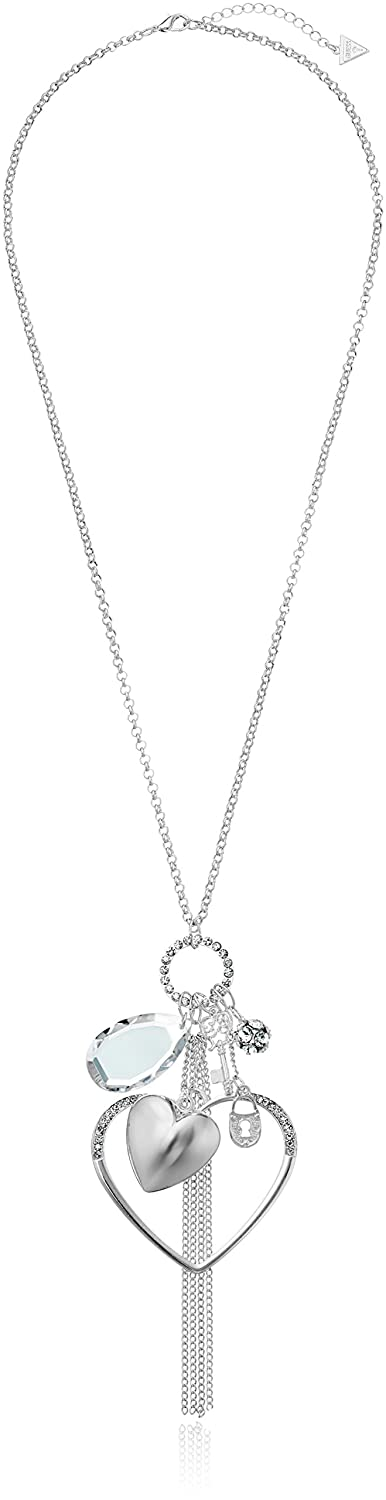 GUESS Basic Large Open Heart Charm Pendant Necklace