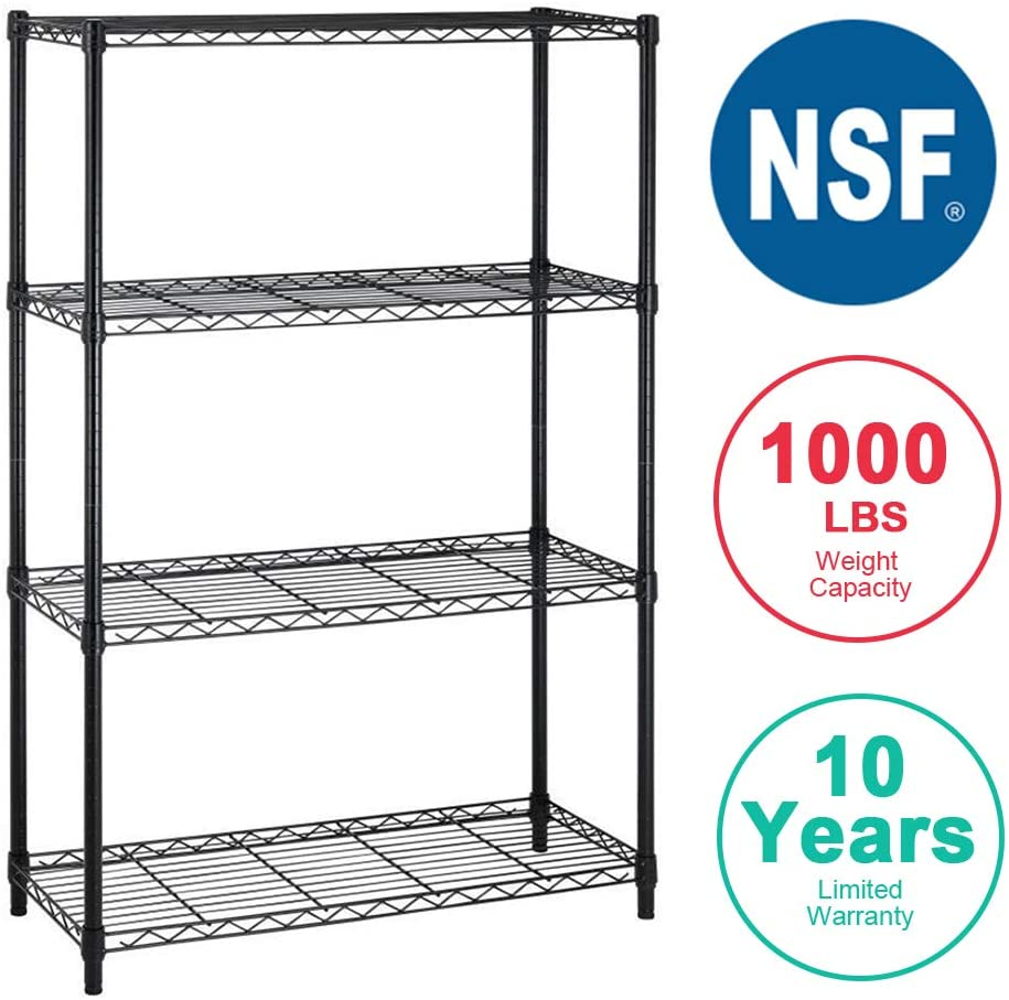 BestOffice 4 Tier Shelving Unit NSF Metal Large Storage Shelves Heavy Duty Height Adjustable Commercial Grade Steel Utility Layer Shelf Rack Organizer 1000 LBS Capacity -14x36x54 (Black)