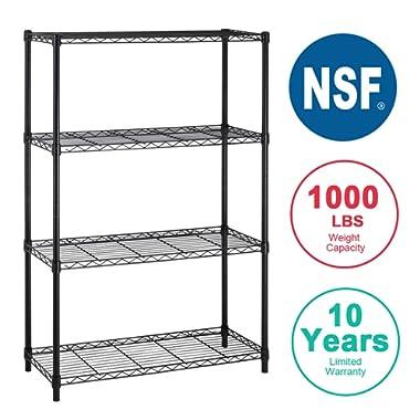 4-Shelf Storage Shelves Heavy Duty Shelving Unit for Kitchen Metal Shelves Garage Organizer Wire Rack Shelving Storage Unit ShelfAdjustable Utility NSF Certification Commercial-16x42x72 Inch