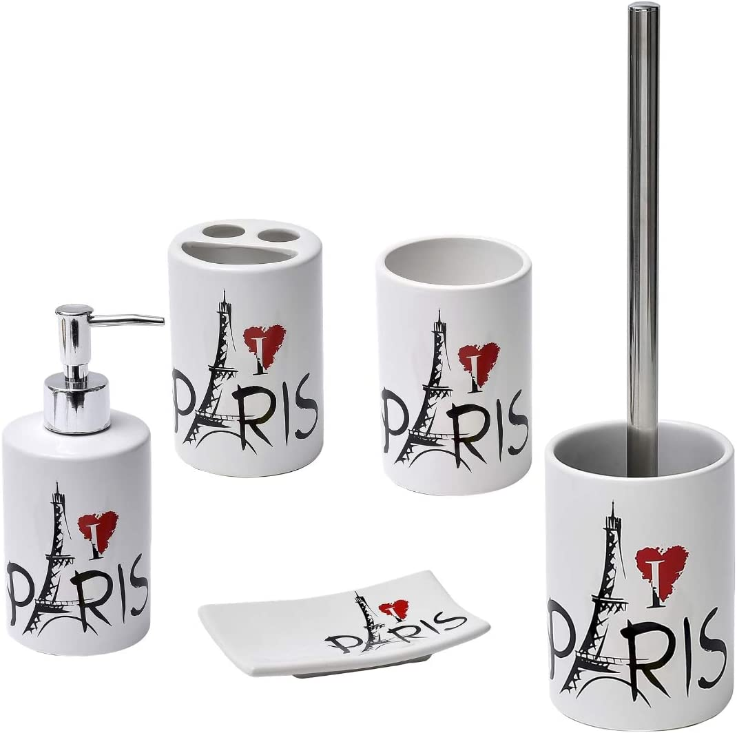 5.50 L x 3.50 W x 1 H Black Red White EVIDECO 6477626 Parisienne Collection Dolomite Curved Soap Dish Cup