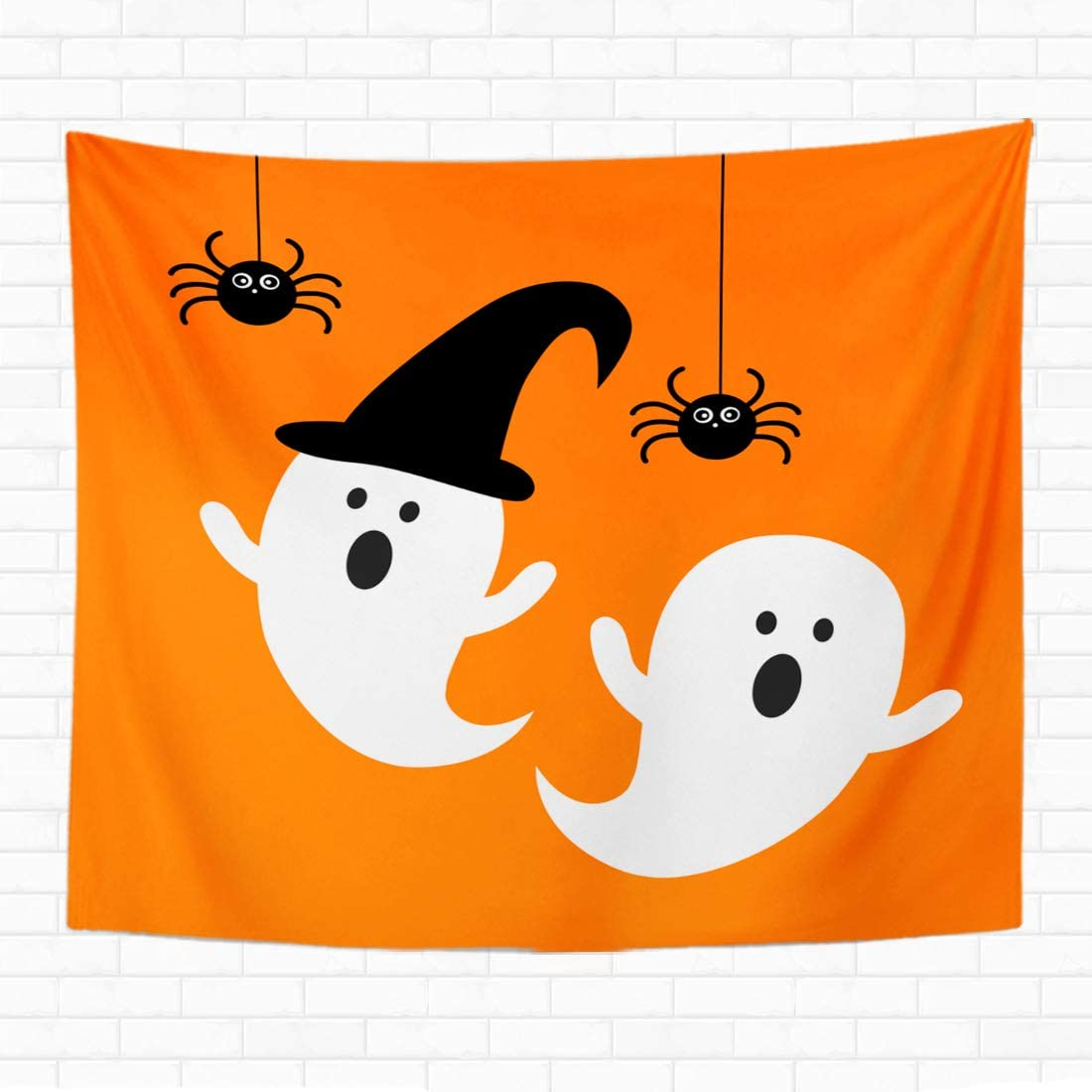 Topyee 50x60 Inch Tapestry Wall Hanging Happy Halloween Ghost with Black Spider Flat Icon Vectorghost Cute Abstract Art Home Decorative Tapestries Wall Blanket for Dorm Living Room Bedroom
