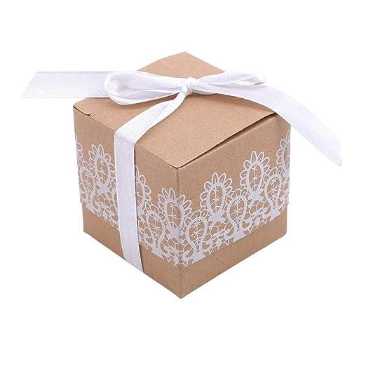 YSINFOD Caja de Caramelos de Papel Blanco Cajas de Regalo de ...