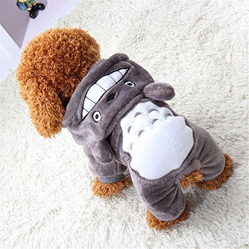 Aquiver Pet Dog Cat Puppy Jacket Coat Winter Clothes Sweater Clothing Apparel Costume (S, Grey) - Sporty Fleece Pullover Dog Apparel